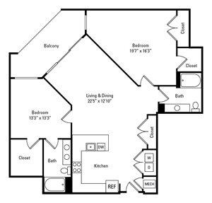 2 Bed, 2 Bath 1,363 sq. ft. - The Beckett