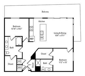 2 Bed, 2 Bath 1,388 sq. ft. - The Centre