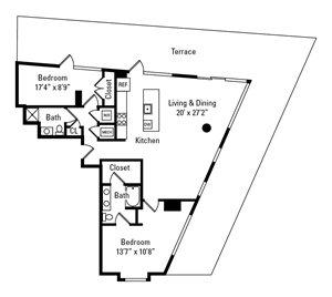 2 Bed, 2 Bath 1,424 sq. ft. - The Stratton