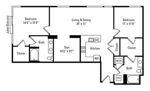 2 Bed, 2 Bath 1,340 sq. ft. - The East Liberty with Den