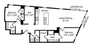 2 Bed, 2 Bath 1,492 sq. ft. - The Ellsworth