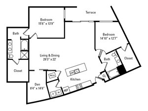 2 Bed, 2 Bath 1,824 sq. ft. - The Walnut with Den