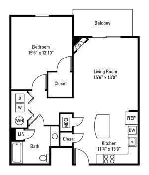 1 Bedroom, 1 Bath 845 sq.ft.