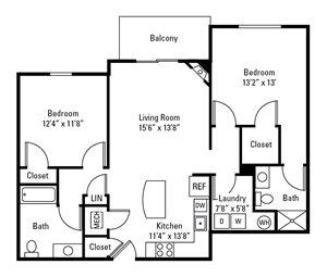 2 Bedroom, 2 Bath 1,125 sq. ft.