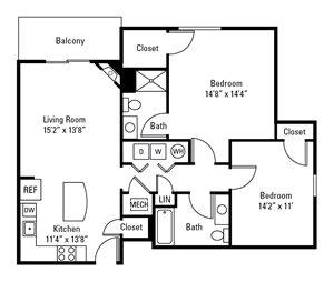 2 Bedroom, 2 Bath 1,135 sq. ft.