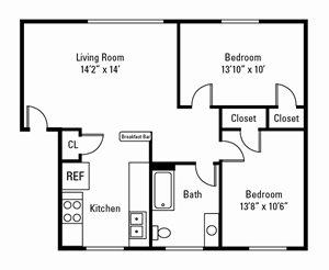 2 Bedroom, 1 Bath 850 sq. ft. (Jefferson)