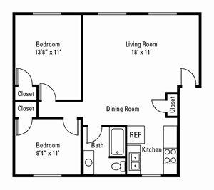 2 Bedroom, 1 Bath 850 sq. ft. (Ambassador)