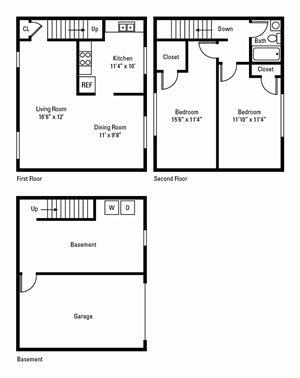 2 Bed, 1 Bath Townhome 995 sq. ft. (Hamilton)
