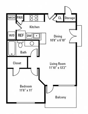 1 Bedroom, 1 Bath 609 sq. ft.