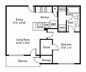 1 Bedroom, 1 Bath 629 sq. ft.