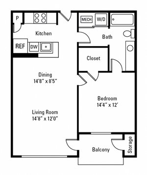 1 Bedroom, 1 Bath 679 sq. ft.