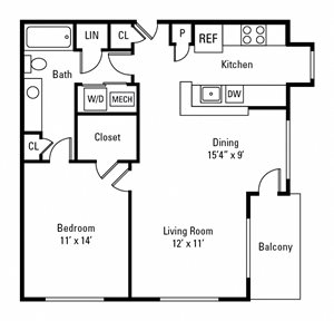 1 Bedroom, 1 Bath 785 sq. ft.