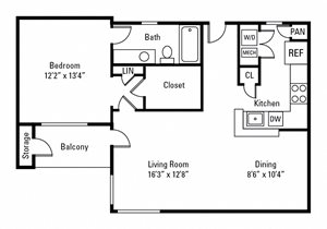 1 Bedroom, 1 Bath 817 sq. ft.