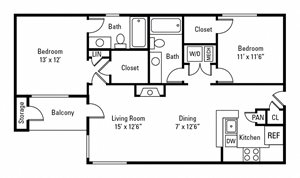 2 Bedroom, 2 Bath 1,013 sq. ft.