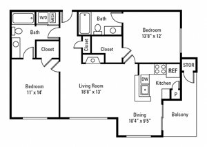 2 Bedroom, 2 Bath 1,086 sq. ft.