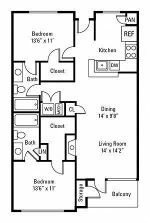 2 Bedroom, 2 Bath 1,179 sq. ft.