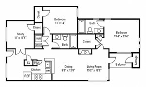 2 Bedroom, 2 Bath 1,337 sq. ft.