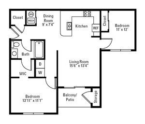 2 Bedroom, 1 Bath 922 sq. ft.