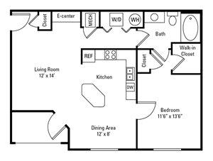 1 Bedroom, 1 Bath 794-805 sq. ft.
