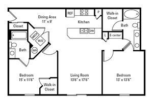 2 Bedroom, 2 Bath 1,104-1,144 sq. ft.
