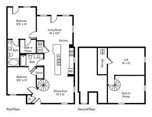 2 Bedroom, 2 Bath 1,418 sq. ft.