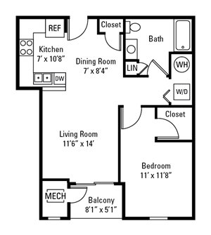 1 Bedroom, 1 Bath 753 sq. ft.