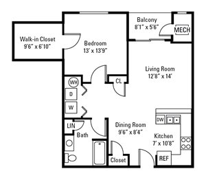 1 Bedroom, 1 Bath 876 sq. ft.