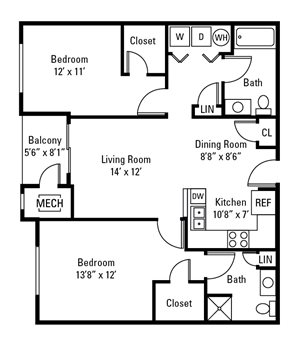 2 Bedroom, 2 Bath 1,082 sq. ft.