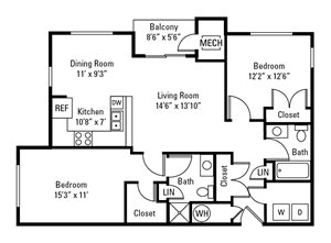 2 Bedroom, 2 Bath 1,144 sq. ft.
