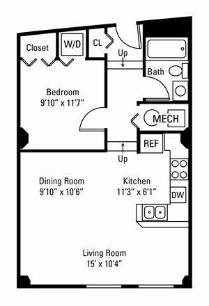 1 Bedroom, 1 Bath 599-635 sq. ft.
