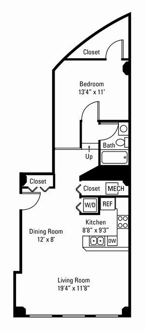 1 Bedroom, 1 Bath 832-969 sq. ft.