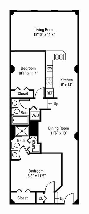 2 Bedroom, 2 Bath 1,142-1,287 sq. ft.