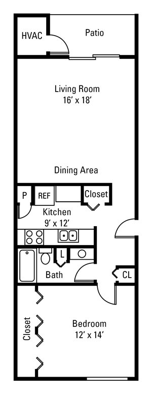 1 Bedroom, 1 Bath 704 sq. ft.