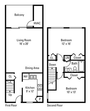 2 Bedroom, 1 Bath Townhome 1,050 sq. ft.