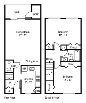 2 Bedroom, 1.5 Bath Townhome 1,120 sq. ft.