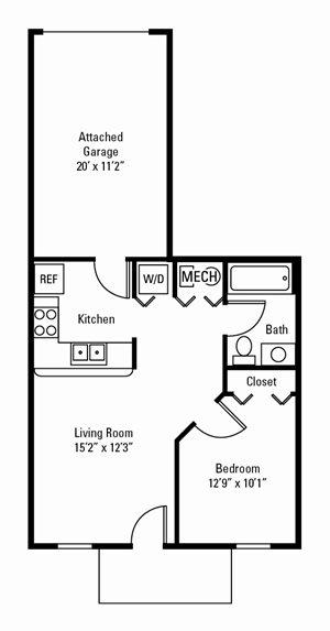 1 Bedroom, 1 Bath 583 sq. ft.
