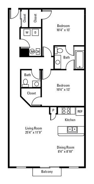 2 Bedroom, 1.5 Bath 1,120 sq. ft.