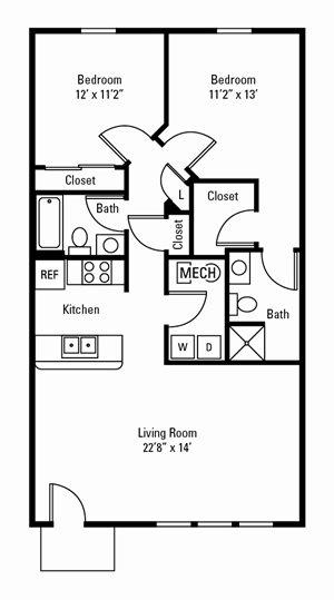 2 Bedroom, 2 Bath 1,027 sq. ft.