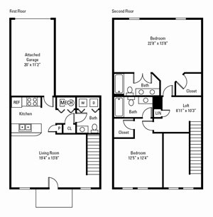 2 Bed, 2 Bath Townhome 1,435-1,540 sq. ft.