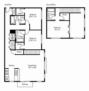 3 Bedroom, 3.5 Bath Townhome 1,515 sq. ft.