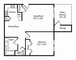 1 Bedroom, 1 Bath 700 sq. ft.