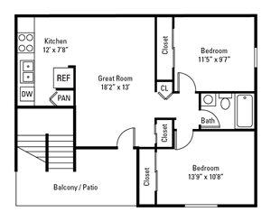 2 Bedroom, 1 Bath 802 sq. ft.