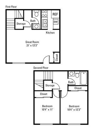 2 Bedroom, 1.5 Bath Townhome 1,005 sq. ft.