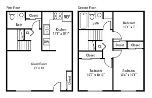 3 Bedroom, 1.5 Bath Townhome 1,184 sq. ft.