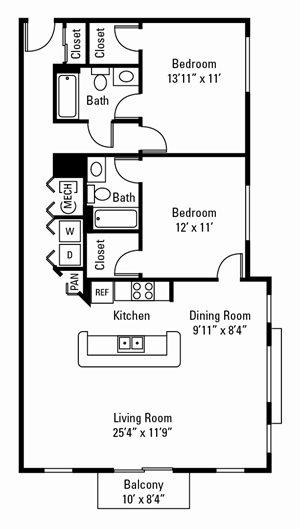 2 Bedroom, 2 Bath 1,104-1,193 sq. ft.