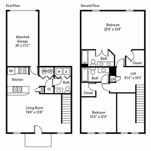 2 Bedroom, 2.5 Bath Townhome 1,540 sq. ft.