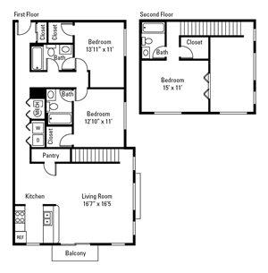 3 Bedroom, 3 Bath Loft 1,515 sq. ft.
