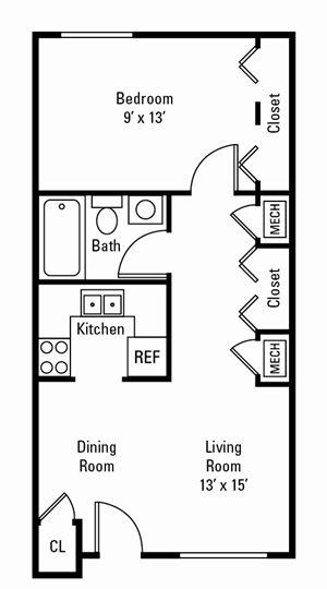 1 Bedroom, 1 Bath 590 sq. ft.