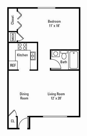 1 Bedroom, 1 Bath 665 sq. ft.
