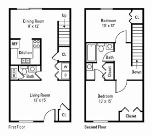 2 Bedroom, 1.5 Bath Townhome 1,149 sq. ft.